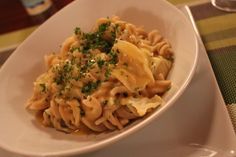 "Brown Rice Pasta and Cabbage with Red Lentil ""Cheese Sauce"""