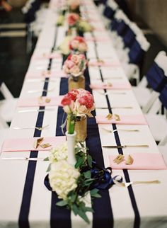Love the navy ribbons on the white tablecloth idea but not really keen on pink napkins....