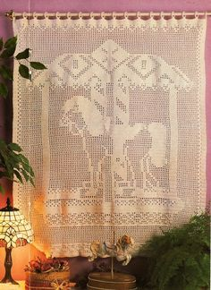 X265 Filet Crochet PATTERN ONLY Carousel Horse Wall Hanging or Curtain Pattern.
