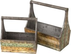 Rustic Wooden Tool Boxes - Country Decor - AmeriProd