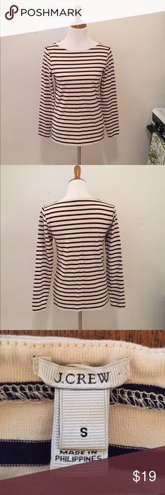 J Crew Sailor Stripe Tee Small J Crew Sailor Stripe Tee, size small, long sleeves, navy and heather stripes, small split at bottom of side seams, like new condition, heavier cotton fabric J. Crew Tops Tees - Long Sleeve