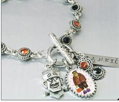 Halloween Charm Bracelet Crystal Charm by BlackberryDesigns, $67.00