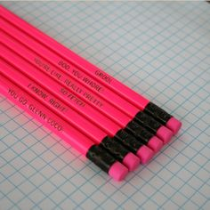 mean girls assorted engraved pencil set 6 hot pink pencils. hot hot pink. that's So fetch. I know right. $8.00, via Etsy.