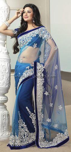 Blue tissue sarees | Sarees, Shri Sarees | Designer Sarees | Salwar Kameez Online | Buy ...