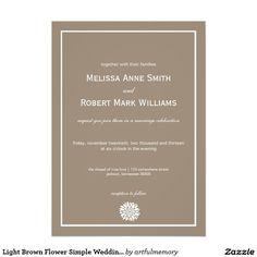Light Brown Flower Simple Wedding Invitations