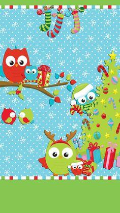 iPhone Wall: Christmas tjn Cute Christmas Wallpaper, Holiday Wallpaper, Apple Wallpaper, Cute Wallpaper Backgrounds, Pretty Wallpapers, Christmas Background, Iphone Wallpaper, Christmas Owls, Very Merry Christmas