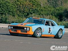 road racing Camaro - in Gulf blue