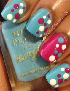 Blue, white & pink dot nails #nail #nails #nailart