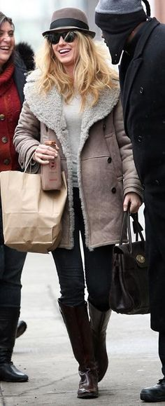 Sunglasses – Oliver Peoples, Purse – Mulberry Bayswater Bag in Chocolate Natural Leather, Jacket – Burberry Prorsum Shearling Coat