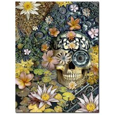 Floral Sugar Skull - Canvas Print - Solid Surface with Fully Finished Back - Bali Botaniskull - Fusion Idol - Art and Gifts by Artist Christopher Beikmann - 1