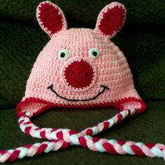 Pink Pig Crochet Hat by AmysCraftingCorner1 on Etsy