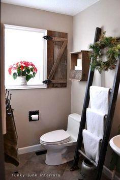 Ladder Towel Rack: 31 Amazingly DIY Small Bathroom Storage Hacks Help You Store More. //  LOVELOVELOVE!!!  ♥A