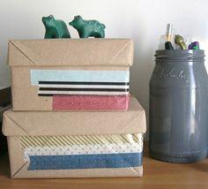 Shoe boxes in kraft paper + washi tape = storage