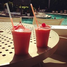 The adults can't have all the fun! At Lago Mar we also have kid's cocktails - fun and fruity frozen concoctions that are a perfect treat to beat the heat poolside! Drinks: Virgin Strawberry Daiquiris with Cherries on top #LagoMar #FortLauderdaleDining #floridacuisine  http://www.lagomar.com/experience/dining.php
