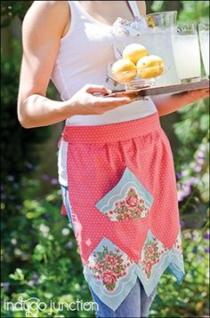 Have some vintage or reproduction hankies lying around? Use them to make this fabulous Hankie Apron from Indygo Junction! The downloadable pattern is only $4.99 or you can find the pattern in the book Hankie Style $24.99. #sewing #vintagehankie #kitchenpattern