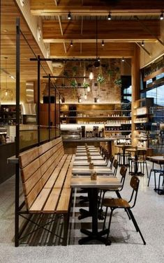 New cozy restaurant seating benches ideas Coffee Shop Interior Design, Industrial Interior Design, Coffee Shop Design, Restaurant Interior Design, Industrial Interiors, Cafe Design, Industrial Bathroom, Industrial Office, Industrial Lighting