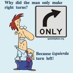 Why did the man only make right turns? Because Izquierda Turn Left! [Post on teaching Location in Spanish]