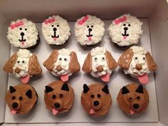 Coklat n vanilla cupcake Puppy Cupcakes, Puppy Cake, Animal Cupcakes, Puppy Birthday Parties, Puppy Party, Dog Birthday, 10th Birthday, Birthday Cakes, Birthday Ideas