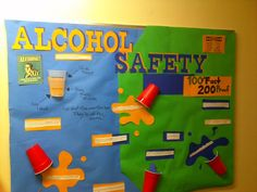 Alcohol Safety board I made....With the help of my girlfriend. Simple idea to use the red cups, but everyone loved it. Alcohol Bulletin Board, Health Bulletin Boards, College Bulletin Boards, Ra Passive Programs, Teaching Safety, Alcohol Awareness, Ra Boards, Residence Life, Resident Assistant
