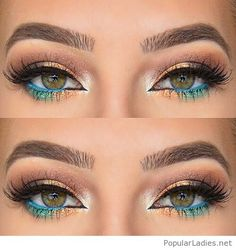 Gold eye makeup with blue detail