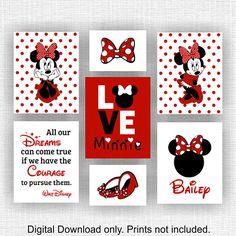 47 ideas for baby girl nursery themes disney minnie mouse kids rooms Mickey Mouse Nursery, Disney Themed Nursery, Red Minnie Mouse, Baby Girl Nursery Themes, Baby Mouse, Disney Girls Room, Disney Rooms, Disney Cars, Disney Canvas Art