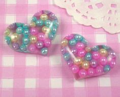 5 x LARGE Colourful Bead Heart Flat Back Resin Cabochons