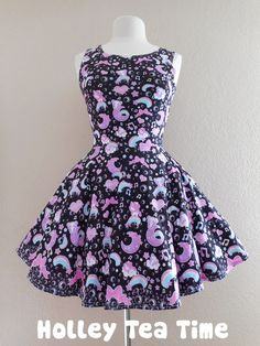 Bubbly dreams black Skater Dress MADE TO ORDER · Holley Tea Time · Online Store Powered by Storenvy