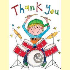 Rachel Ellen Pack of 5 Thank You Cards - Drummer