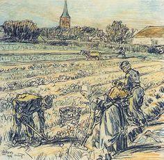 Jan Toorop, Werkers op het land bij Domburg - 1904