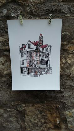 John Knox House and cat by Edinburgh Inky Fox. Trying to show Edinburgh sights and animals around town. See Etsy ship for more work. Thanks M x