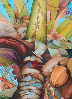 "New Painting.....Art Original Watercolor Painting Hawaiian ""COCONUT TREE"" at Kiaweiki on Etsy, $400.00"
