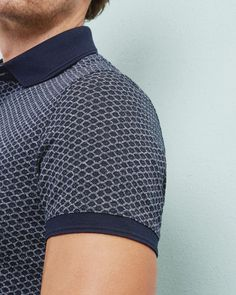 Geo print polo shirt - Navy | Tops & T-shirts | Ted Baker UK