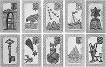 Visuel des cartes de l'oracle de Belline en noir et blanc.