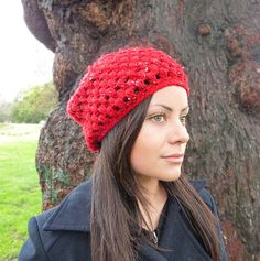 Classic beanie hat  ITALIAN RED with white accents  by BeanieVille, $22.95
