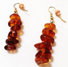 Excited to share the latest addition to my #etsy shop: Natural Amber Nugget Long Pierced Earrings Gold Tone Vintage http://etsy.me/2DAVW2l #jewelry #earrings #orange #boho  #women #brown
