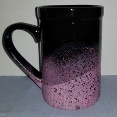 Hand Painted Black and Pink coffee Mug/Latte. Pink Ceramic Mug. Diy Painted Vases, Hand Painted, Pink Coffee Mugs, Coffee Cups, Diy Painting, Latte, Purple Things, Clay, Ceramics