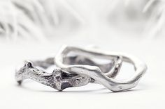silver wedding band set coral branch inspired sterling by redsofa, $150.00