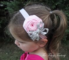 Light Pink Flower Headband - Ballet Pink Satin Rose w/ Sparkling Rhinestone Crystal Bow Headband - Baby Toddler Child Girls Headband
