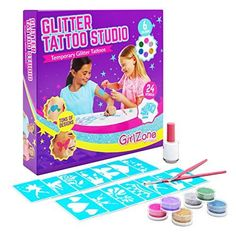 GirlZone: Temporary Glitter Tattoos Kit For Girls 33 Pieces Crafts For Girls, Toys For Girls, Arts And Crafts, Christmas Design, Christmas Nails, Tattoo Transfer Paper, Old Tattoos, Tattoo Kits, Tattoo Stencils