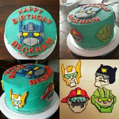 Rescue Bot Birthday cake I made for my sons 3rd birthday. Hand drawn/cut fondant characters with edible marker and smoothed butfercream for exterior of cake.