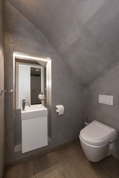 A toilet under the stairs in the first floor