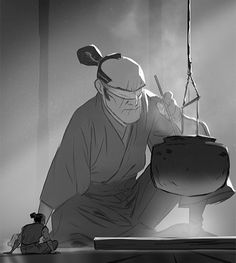 Panel roughs, zbrush maquette, character design for my Issunboshi graphic novel (fully painted). Looking for publishers at the moment ;)