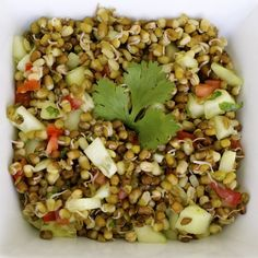 Mung bean Salad, sprouted and steamed with cucumbers, onions, tomatoes, green chillies and lemon juice. Yummy!