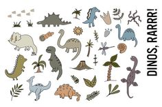 Dinosaurs doodle clipart by Pepper on Creative Market