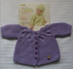my favorite baby sweater & hat pattern. Too bad it is too small for Hannah, but I still love it!