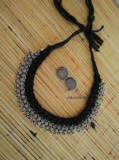 Antique oxidised german silver necklace with studs