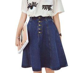 e73f8ae613008 2017 New Fashion Women Denim Skirt Spring Summer High Waist Jeans Skirts  Student Casual Elastic Waist Skirt Plus Size Saia SF216