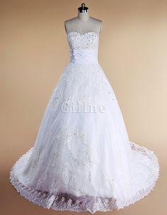 Rechteck Tülle Overlay Prinzessin Herz-Ausschnitt Paillettenbesetztes Brautkleid