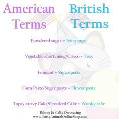Cake terms - usa vs English