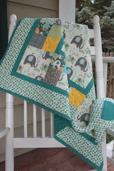 Baby Elephant Splash Boy or Girl Quilt with Stuffed by ThePlaidPup, $125.00